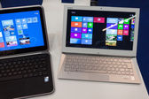 Netbooks at Smau exhibition in Milan, Italy — Stock Photo