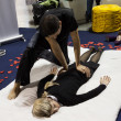 Stock Photo: Masseur with young womat Weekend Donn2013 in Milan, Italy