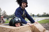 WW II Italian tank drivers at Militalia 2013 in Milan, Italy — Stock Photo