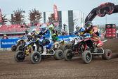Gara di moto quad al 2013 di eicma a Milano, Italia — Foto Stock