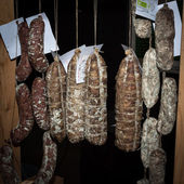Italian salami at Golosaria 2013 in Milan, Italy — Stock Photo