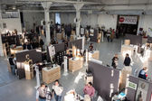 Top view of people and stalls at Golosaria 2013 in Milan, Italy — Stock Photo