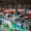 Top view of people and booths at G! come giocare in Milan, Italy — Stock Photo