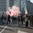 Foto de Stock  : Demonstrators protesting against government in Milan, Italy