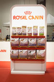 Pet food on display at the international dogs exhibition of Milan, Italy — Stock Photo