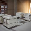 Stock Photo: Empty armchairs in buyers lounge at HOMI, home international show in Milan, Italy