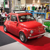 Fiat 500 car on display at HOMI, home international show in Milan, Italy — Stock Photo