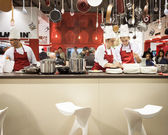 Young cooks work on their recipes at HOMI, home international show in Milan, Italy — Stock Photo