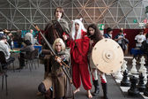 Cosplayers posing at Festival del Fumetto convention in Milan, Italy — Foto de Stock