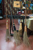 Flying brooms on display at Festival del Fumetto convention in Milan, Italy — Stok fotoğraf