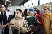 Cosplayers posing at Festival del Fumetto convention in Milan, Italy — Stok fotoğraf