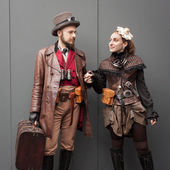 Steampunk cosplayers posing at Festival del Fumetto convention in Milan, Italy — Stok fotoğraf