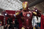 Iron man cosplayer posing at Festival del Fumetto convention in Milan, Italy — Stockfoto