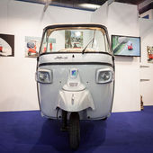 Ape motor vehicle on display at Bit 2014, international tourism exchange in Milan, Italy — Stock Photo