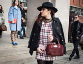 People outside the fashion shows buildings for Milan Women's Fashion Week 2014 — Stock Photo