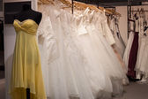 Wedding dresses on display at Mipap trade show in Milan, Italy — Stock Photo