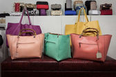 Bags on display at Mipap trade show in Milan, Italy — Stock Photo