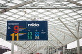 Pavilions sign at Mido 2014 in Milan, Italy — Stock Photo
