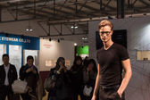 Handsome young man modelling with glasses at Mido 2014 in Milan, Italy — Stock Photo