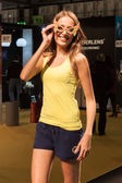 Pretty girl modelling with glasses at Mido 2014 in Milan, Italy — Foto Stock