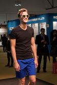 Handsome young man modelling with glasses at Mido 2014 in Milan, Italy — Foto Stock