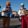 Stock Photo: Performers playing music at MilClown Festival 2014