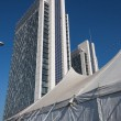 Big top and modern buildings at Milan Clown Festival 2014 — Stock Photo