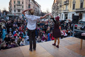 Artists performing in their acrobatic show at Milan Clown Festival 2014 — Stock Photo