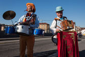 Performers playing music at Milan Clown Festival 2014 — Stock Photo