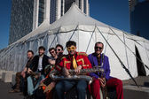 Musicians posing outside the big top at Milan Clown Festival 2014 — Foto Stock