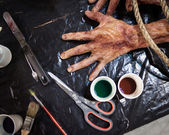 Detail of latex corpse at Cartoomics 2014 in Milan, Italy — Stock Photo
