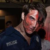 Zombie makeup at Cartoomics 2014 in Milan, Italy — Stock Photo