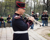 Army bandsman getting ready for the oath ceremony — Stockfoto
