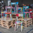 Colorful chairs at Ventura Lambrate space during Milan Design week — Stock Photo