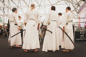 Katana sword fighters at Orient Festival in Milan, Italy — Stock Photo