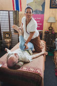 Thai massage at Orient Festival in Milan, Italy — Stock Photo