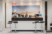 Catering inside ABB stand at Solarexpo 2014 in Milan, Italy — Stock Photo