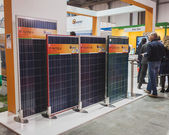 Solar panels on display at Solarexpo 2014 in Milan, Italy — Stock Photo