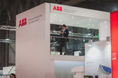 Deatil of ABB stand at Solarexpo 2014 in Milan, Italy — Stock Photo