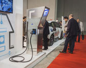 Charging station on display at Solarexpo 2014 in Milan, Italy — Stock Photo