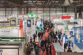 Top view of people and booths at Solarexpo 2014 in Milan, Italy — Stock Photo