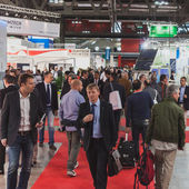 People visiting Solarexpo 2014 in Milan, Italy — Stock Photo