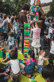 Children play with Lego bricks in Milan, Italy — Stock Photo