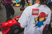 Detail of a t-shirt at Lego Village in Milan, Italy — Stock Photo