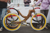 Wooden bicycle at Cyclopride 2014 in Milan, Italy — Stock Photo