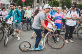 Man with his footbike at Cyclopride 2014 in Milan, Italy — Stock Photo