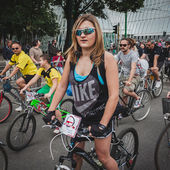 People taking part in Cyclopride 2014 — Stock Photo