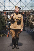 Woman in vintage Russian uniform at Militalia in Milan, Italy — Stock Photo