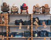 Cowboy hats and pants on display at Rocking the Park event in Milan, Italy — Stock Photo