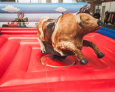 Mechanical bull on display at Rocking the Park event in Milan, Italy — Stock Photo